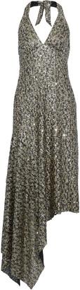 Anna Sui Asymmetric Sequined Tulle Halterneck Midi Dress