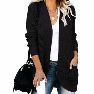 Puimentiua Womens Loose Open Front Cardigan Long Sleeve Casual Lightweight Soft Knit Sweaters Coat with Pockets Black