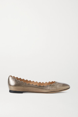 Chloé Lauren Scalloped Metallic Cracked-leather Ballet Flats - Silver