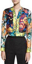 Diane von Furstenberg Bournier Fitted Paneled Collarless Jacket, Multiprint