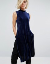 J.o.a. High Neck Velvet Tunic With Side Split