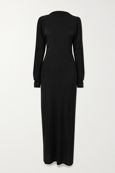 Thumbnail for your product : IOANNES Open-back Paneled Stretch-jersey Maxi Dress - Black