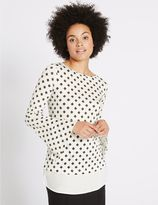 Marks and Spencer Geometric Print Mock Hem Split Sleeve Tunic