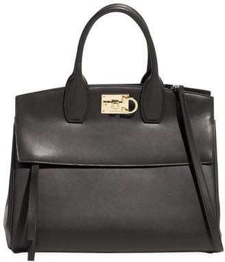 Salvatore Ferragamo Large Studio Leather Top Handle Bag