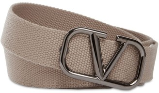 Valentino 30mm Web Belt W/ Metal Logo Buckle