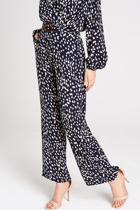 Girls On Film Aimee Navy Spot Wide Leg Trousers Co-ord