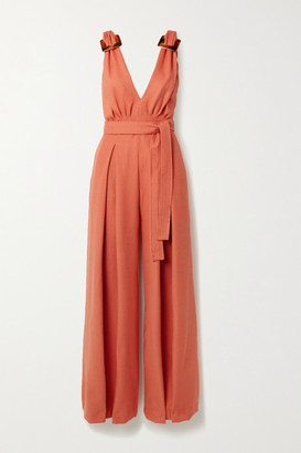 PatBO Belted Buckled Lace-paneled Woven Jumpsuit - Orange