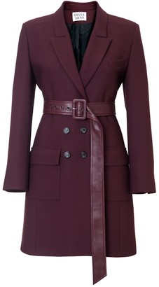 Diana Arno Bianca Belted Blazer-Dress In Ruby Wine