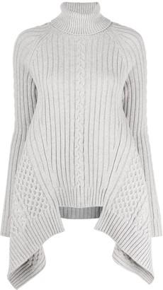 Alexander McQueen Asymmetric Hem Knitted Roll Neck Jumper