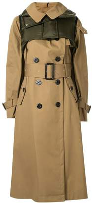 Sacai brown cotton double-breasted trench coat
