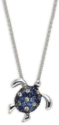 Effy Sterling Silver, Blue Sapphire White Sapphire Sea Turtle Pendant Necklace