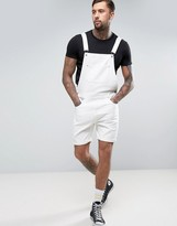 Asos Short Denim Overalls In White