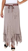 KRISP Womens Soft Cotton Bohemian Gypsy Belted Long Skirt (7844-KHA-18)
