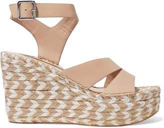 Sigerson Morrison Arien Leather Espadrille Wedge Sandals