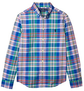 Polo Ralph Lauren Kids Plaid Cotton Poplin Shirt (Big Kids) (Royal Multi) Boy's Clothing