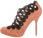 Christian Dior Suede Lace-Up Cutout Booties