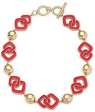 Liz Claiborne Red & Gold-Tone Toggle Necklace