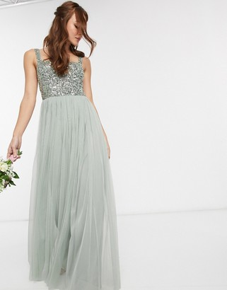 Maya Bridesmaid sleeveless square neck maxi tulle dress with tonal delicate sequin overlay in sage green