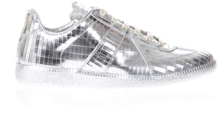 Maison Margiela Silver Replica Sneakers In Leather