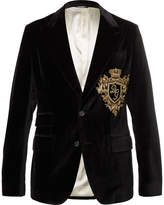 Dolce & Gabbana - Black Slim-fit Embroidered Stretch Cotton-velvet Blazer