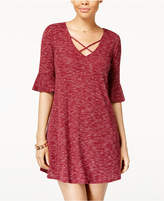 Heart And Soul Juniors' Bell-Sleeve Crisscross-Neck Dress