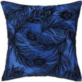 Nanette Lepore Peacock Cobalt Embroidered Pillow
