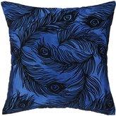 Nanette Lepore Peacock Cobalt Embroidered Pillow