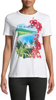 Ralph Lauren St. Barts Crewneck Short-Sleeve Floral Sequin Cotton Tee