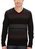 Calvin Klein Men's Merino Acrylic Plaited Striped V-Neck Sweater
