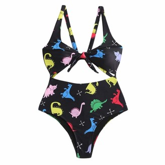 Ronamick Women's Siamese Bikini Dinosaur Pattern Sexy Cute Slim Swimsuit Set Comfortable Simple Swimsuit(S
