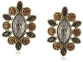 "Jessica Simpson Arctic Facets - Gold"" Drama Stone Stud Earrings"