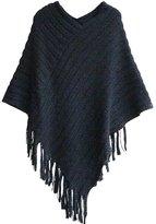 Weixinbuy Women Oblique Stripe Fringe Wraps Cape Coat Knitwear Bohemian Shawl