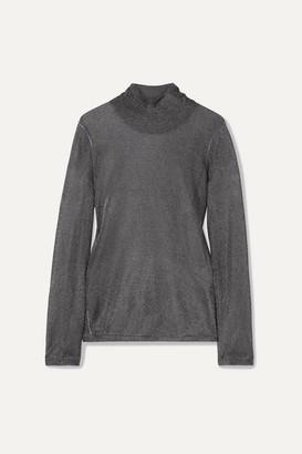 Tom Ford Metallic Stretch-knit Turtleneck Top - Gunmetal