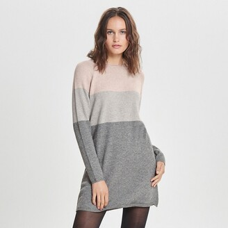 Only Three-Tone Striped Jumper Dress in Fine Knit with Long Sleeves