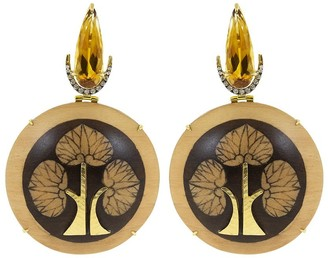 Silvia Furmanovich 18kt yellow gold diamond Obi Marquetry Tree Of Life earrings