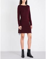 McQ Eyelet-detail sleeveless fitted woven mini dress