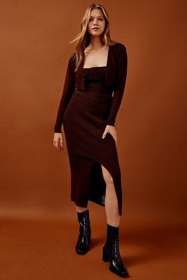 Topshop Womens Chocolate Brown Knitted Skirt - Chocolate