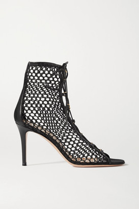 Gianvito Rossi 85 Lace-up Mesh And Leather Ankle Boots - Black
