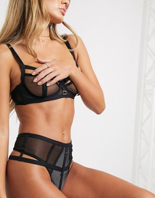 Bluebella Marllie sheer mesh bra with hardware in black