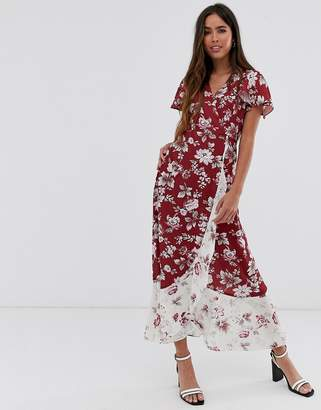 French Connection floral wrap maxi dress-Red