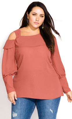 City Chic Sexy Shoulder Top - terracotta