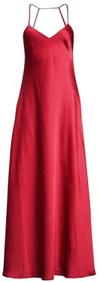 BCBGMAXAZRIA Open-Back Satin Flare Gown