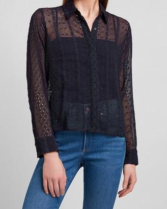 Express Eyelet Lace Textured Dot Portofino Shirt
