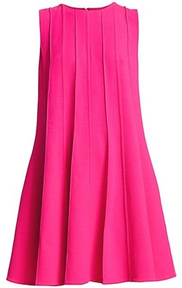 Oscar de la Renta Sleeveless Pleated Shift Dress