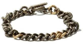 M. Cohen Carved 18kt Gold And Sterling-silver Link Bracelet - Mens - Grey Multi