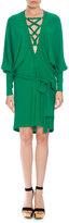 Balmain Lace-Up Belted Batwing Dress, Emerald Green