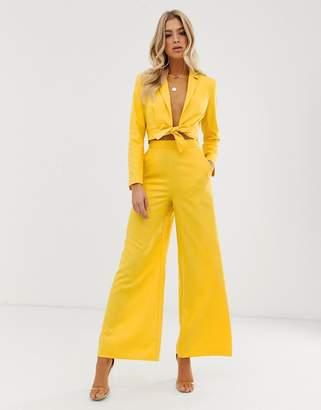 Asos Design DESIGN extreme high waist suit pants-Yellow