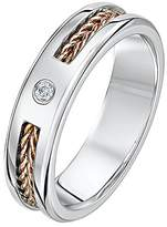 Theia His & Hers 14ct Rose and White Gold Two-Tone 6mm Wire Patterned Wedding Ring - Size V