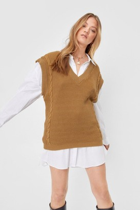 Nasty Gal Womens Offers On the Cable Knit V-Neck Tank Top - Camel
