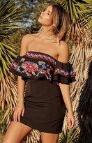 Beginning Boutique Wilderness Off Shoulder Dress Black